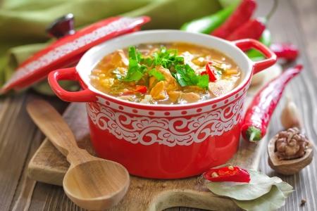 sopa de pollo: Kharcho sopa de cocina georgiana