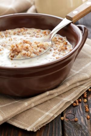 Buckwheat with milk photo
