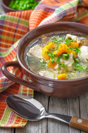 spicy chicken: Meat soup Stock Photo