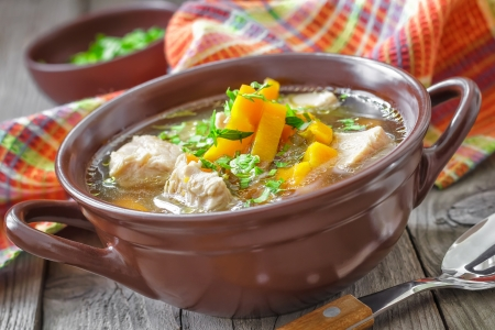 soup bowl: Meat soup Stock Photo