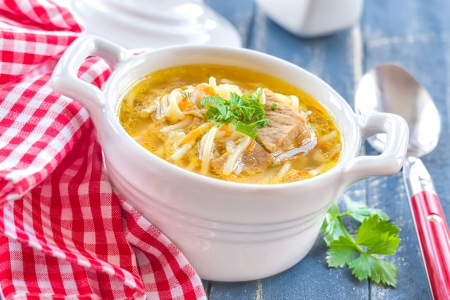 chicken noodle soup: Soup with pasta Stock Photo