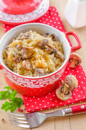 stew: Cabbage with mushrooms Stock Photo