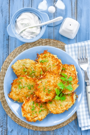 baked potato: Potato pancakes Stock Photo