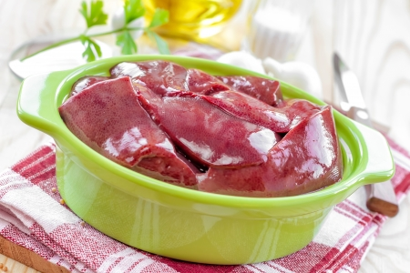 giblets: Raw liver Stock Photo