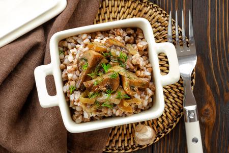 Buckwheat porridge with mushrooms Zdjęcie Seryjne - 26174267