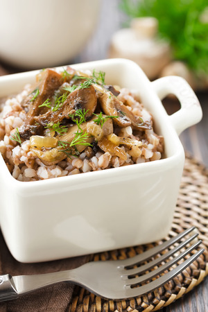 Buckwheat porridge with mushrooms  photo
