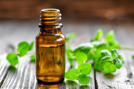 essential oil: Mint oil Stock Photo