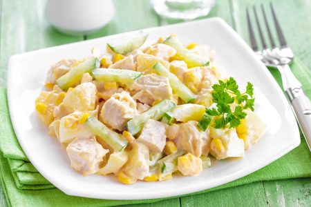 Salad with chicken and pineapple photo