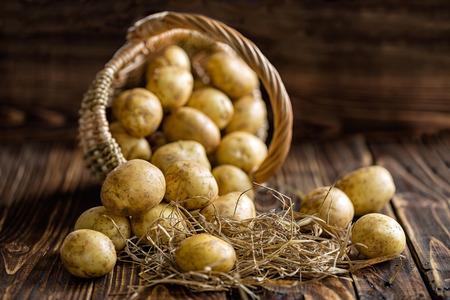 in the basket: Potato Stock Photo