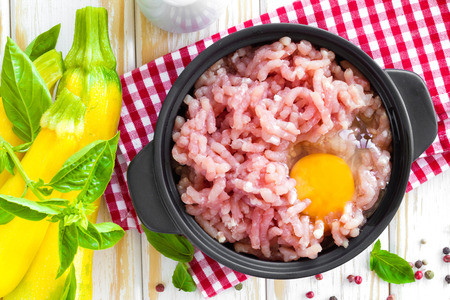 Minced meat with egg photo