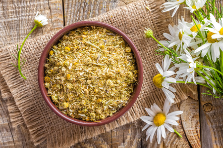 chamomile tea: Dry chamomile Stock Photo