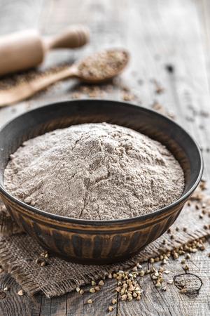 Buckwheat flour Imagens