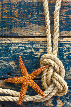 wooden background with starfish and marine rope Reklamní fotografie - 39309503