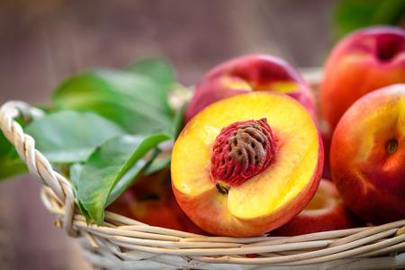 wooden basket: nectarine