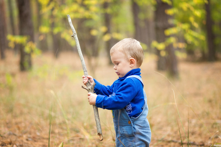 funny boy: boy in a forest Stock Photo