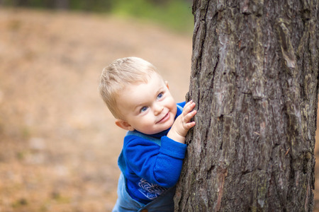 cute blonde: boy in a forest Stock Photo