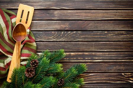 marco madera: men� de Navidad Foto de archivo