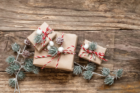 decoration: christmas gifts and decorations on wooden background Stock Photo