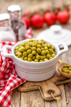 canned peas: green peas Stock Photo