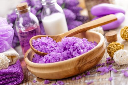 aromatic: aromatic spa bath salt on wooden table Stock Photo