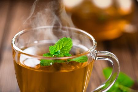 mint tea on wooden table