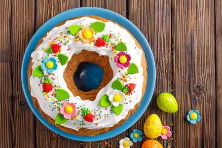 easter cake on wooden table
