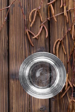 sap: Birch sap or birch water in a glass