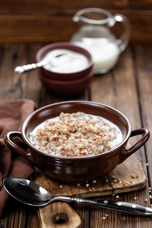 porridge: buckwheat porridge Stock Photo