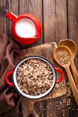 groat: buckwheat porridge Stock Photo