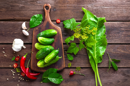 pickling: ingredients for pickling cucumbers Stock Photo