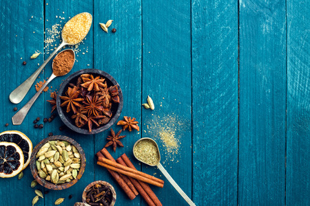 christmas grounds: culinary background with various spices for Christmas mulled wine