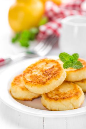 cottage cheese: cottage cheese pancakes, syrniki