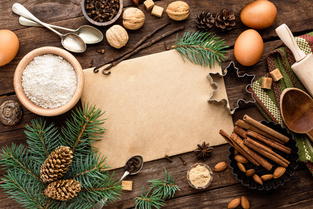 baking: culinary background for recipe of Christmas baking