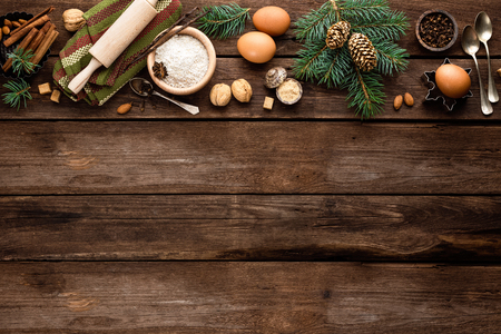 greeting christmas: culinary background for Christmas baking Stock Photo