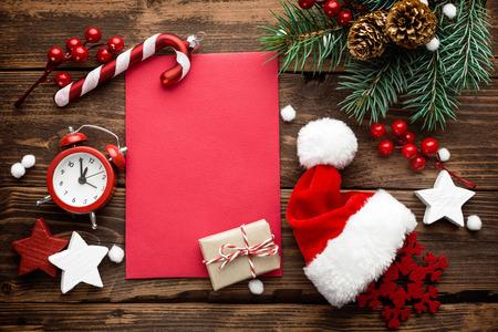 クリスマスの飾り、サンタ クロースへの手紙 写真素材