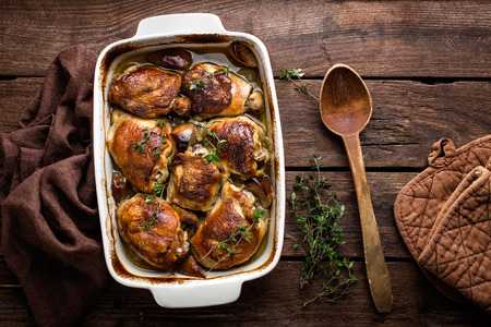 baked meat: chicken thighs Stock Photo