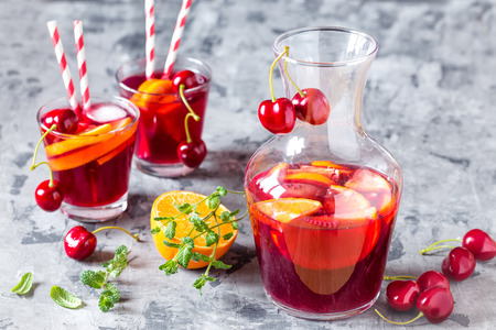 alcoholic drink: summer cool alcoholic drink sangria with fresh fruits and berries