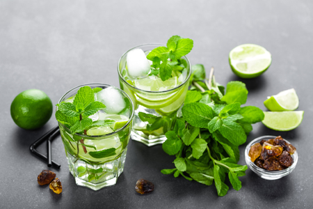 mocktail: Mojito Cubano or caipirinha cocktail, iced drink with lime and mint