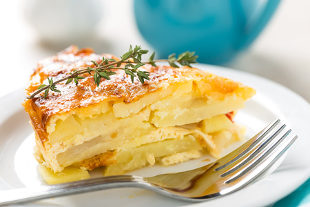 Potato breakfast gratin with parmesan Stockfoto