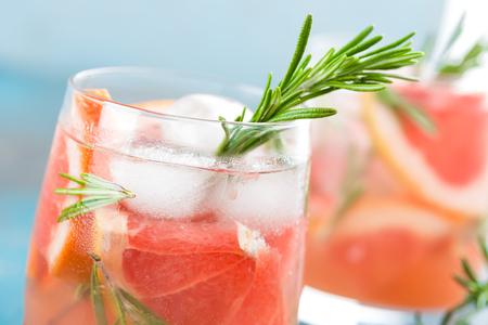 Grapefruit en rozemarijn gin cocktail, verfrissend drankje met ijs Stockfoto
