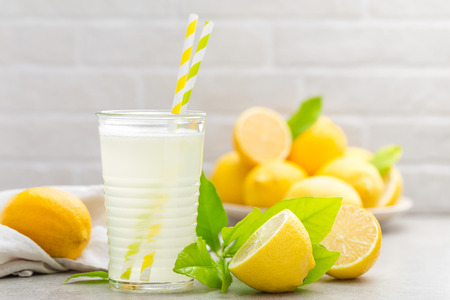 Lemonade. Drink with fresh lemons. Lemon cocktail with juice. Stock Photo