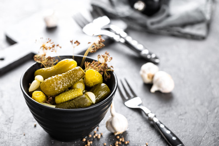marinated gherkins: Pickled cucumbers, small marinated pickles, gherkins