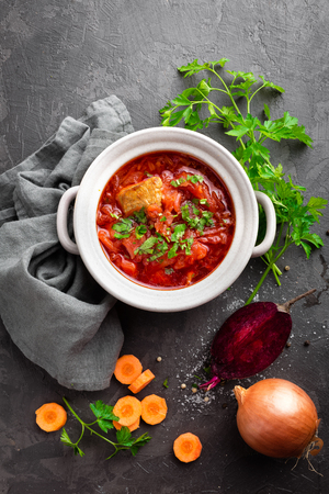 Borscht, traditional ukrainian beetroot vegetable soup
