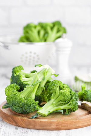 Fresh broccoli on white background closeup Stock Photo - 90544918