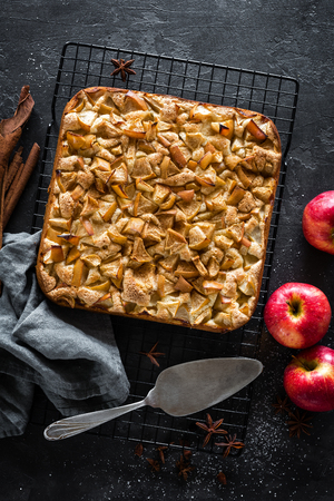 Apple pie with cinnamon, top view