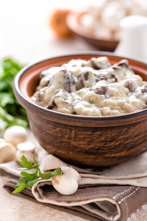 Mushrooms in creamy sauce, julienne. Champignon Imagens