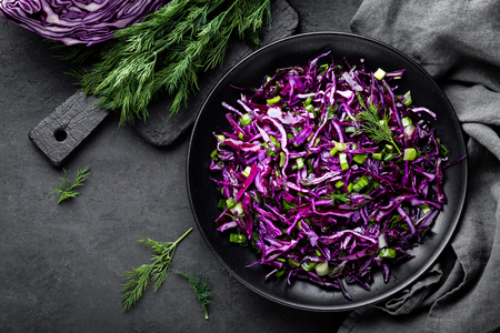 Red cabbage salad with fresh green onion and dill. Vegetarian dish.