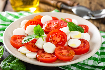 Tomato salad with mozzarella cheese and olive oil 版權商用圖片