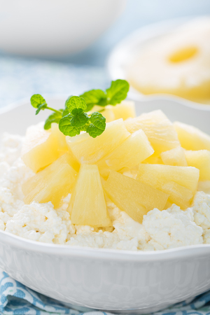 Cheese cottage dessert, curd with pineapple and yogurt