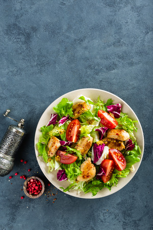 Fresh vegetable salad of tomatoes, cucumbers, italian mix, lettuce and grilled chicken breast. Fried chicken meat, fillet with salad. Healthy food. Flat lay. Top view Standard-Bild - 97856069